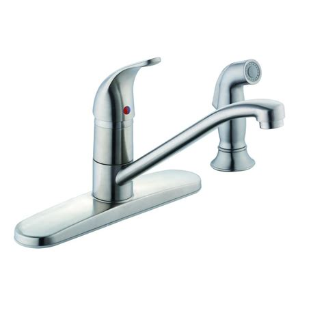 glacier bay single handle kitchen faucet glacier bay single handle standard kitchen faucet with side sprayer in stainless steel 67554