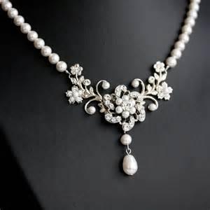 Wedding Necklace, White Pearl necklace, Vintage rhinestone flowers, Swarovski Wedding Jewelry, Sabine Classic