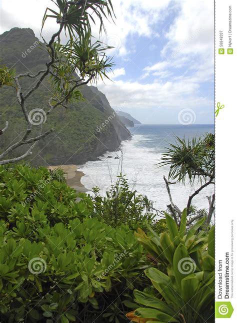 Rugged Coastline And Cliffs Along The Kalalau Trail Of