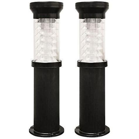 bollard black 26 quot high led solar outdoor light 2 pack