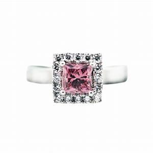 1 carat princess cut pink diamond ring 18k white gold with gls for Princess cut pink diamond wedding rings