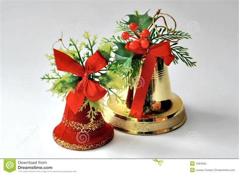 christmas bell decorations stock photo image of ribbons