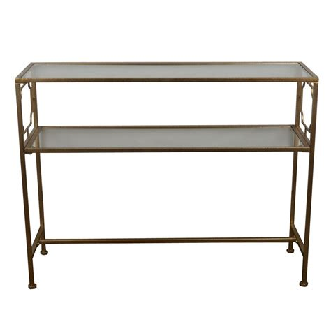 glass console table with shelf decor therapy gold glass shelves console table fr6354