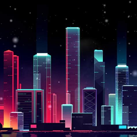 neon skyline wallpaper engine  space invader social