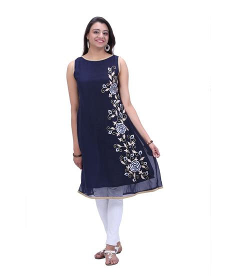 Boat Neck Short Kurti by Kiaraa Poly Georgette Boat Neck Kurti Blue Price In India