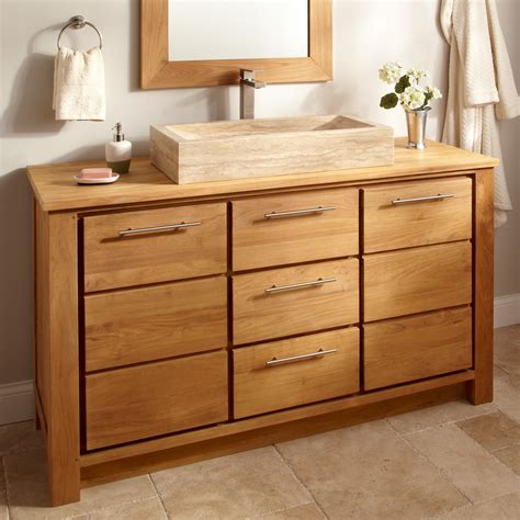 single vanity cabinet with vessel sink 60 quot venica teak single vessel sink vanity natural teak