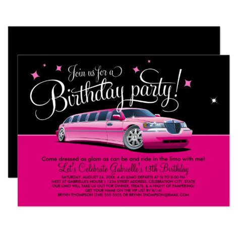 Birthday Limousine by Birthday Invitation Pink Limousine Zazzle