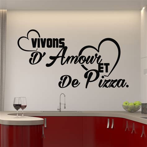 citation cuisine amour sticker citation vivons d 39 amour et de pizza stickers