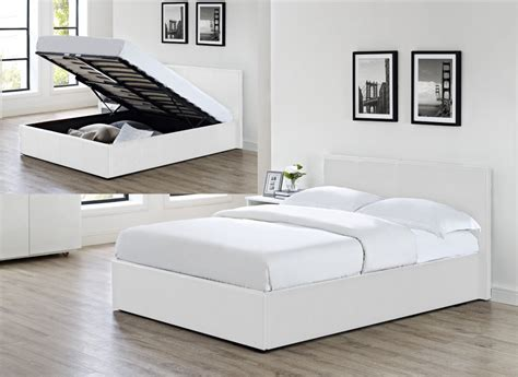 Siesta Ottoman Storage Lift Up Bed White Faux Leather 3ft
