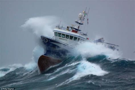 Fishing Boat North Sea by North Sea Trawlermen Fishing Boat Battered By Waves As