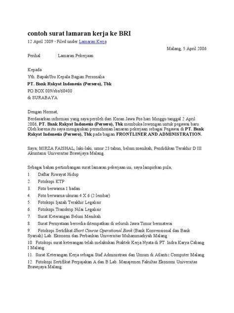 Contoh Surat Lamaran Kerja Bank Bri Lewat Pkss - Info Seputar Kerjaan