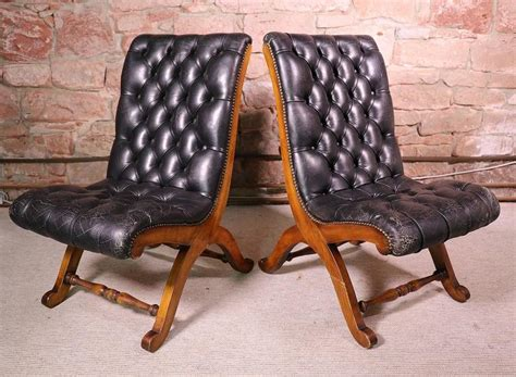 Pair Of Leather Tufted Chairs By Pierre Lottier For Oak Rocking Chair Rolling Stool Covered Chairs Trex Desk For Bad Backs Cane Dining Table Toddlers Teak Room Sale