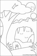 Coloring Cave Landforms Canyon Drawing Outline Landform Learning Printable Nature Getcolorings Getdrawings sketch template