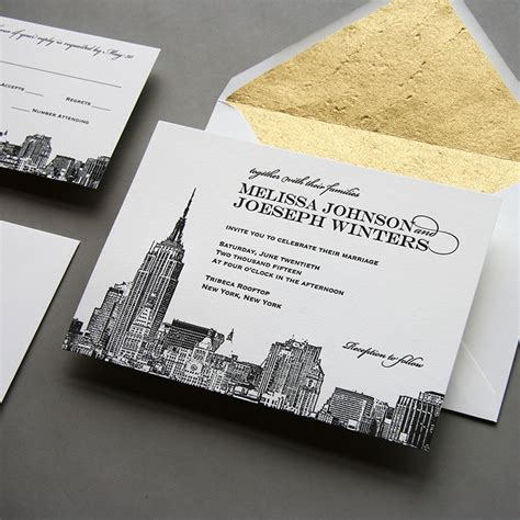 New York City Skyline Wedding Invitation By Steel