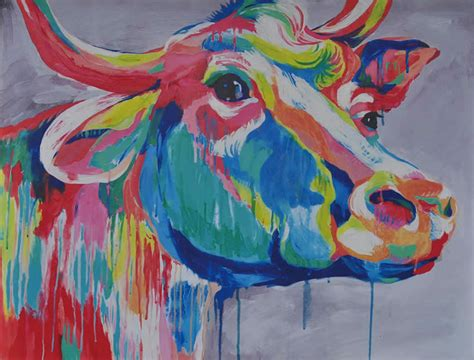 colorful cow painting colorful cow canvas painting watery ink gray abstract