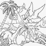 Coloring Landscape Drawing Dinosaur Dinosaurs Pages Printable Flying Children Pteranodon Scenery Drawings Colouring Gigantic Tropical Archaeopteryx Gliding Draw Cliparts Forest sketch template
