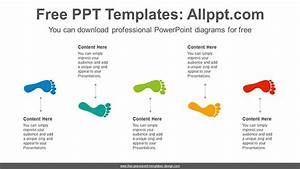 Step Five Footsteps Powerpoint Diagram Template