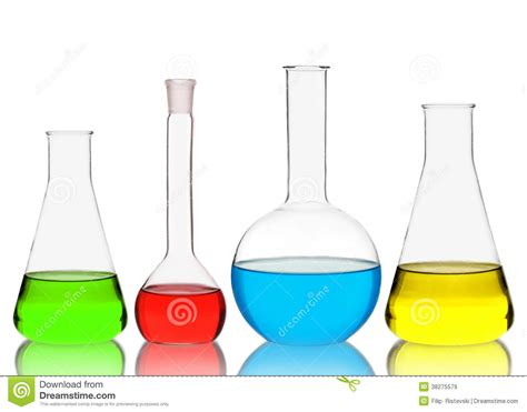 chemistry glassware isolated  white background stock