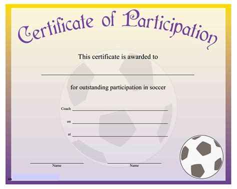 printable sports certificates sampleprintablecom