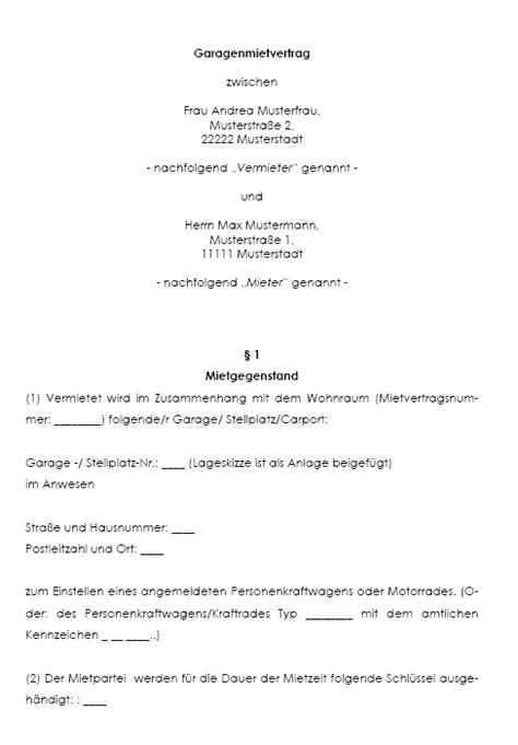 Mietvertrag Für Garage Oder Stellplatz Vorlagende