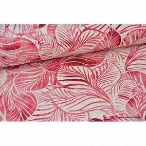 Tissu Imprimé Tropical : tissu toile natt coton imprim feuilles tropicales roses label oeko tex ~ Teatrodelosmanantiales.com Idées de Décoration