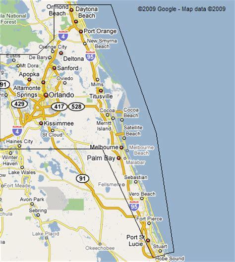 map of florida east coast central florida east coast map