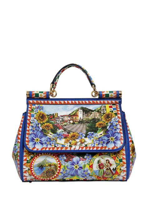 lyst dolce gabbana medium sicily sicilia print leather bag