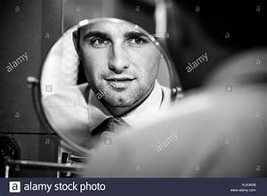 Man Looking In Mirror Black and White Stock Photos ...