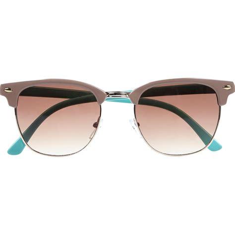 blue light blocking sunglasses river island light brown color block retro sunglasses in