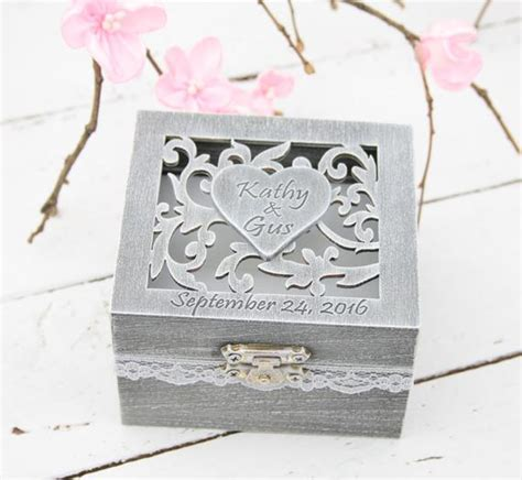 ring bearer box wedding engagement ring box personalised
