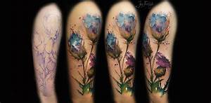 Watercolor Flowers Tattoo Design For Half Sleeve