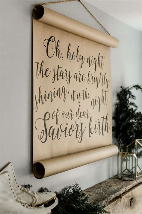 holy night calligraphy scroll farmhouse wall decor