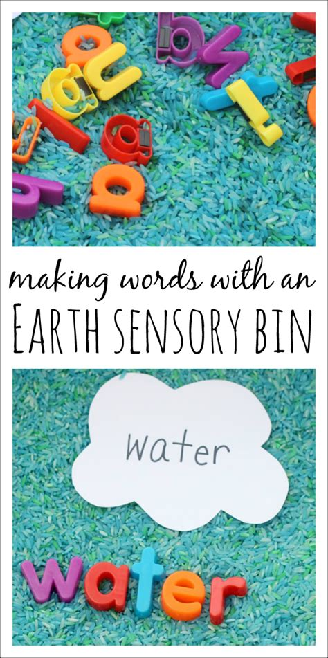 simple preschool earth day sensory bin and literacy play 138 | Making Words with an Earth Sensory Bin perfect for Earth Day or a space theme