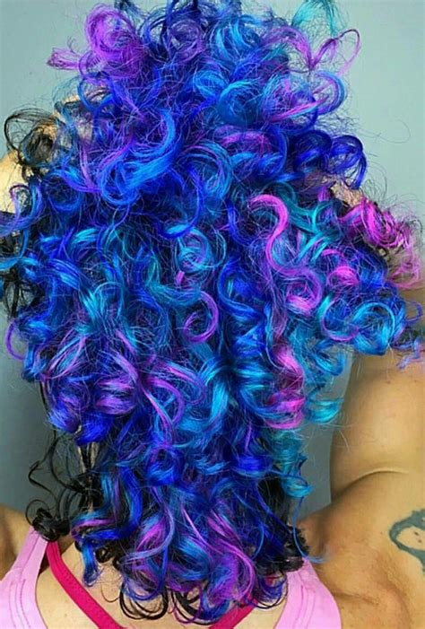 Blue Purple Mixed Dyed Curly Hair Iroirocolors In 2019