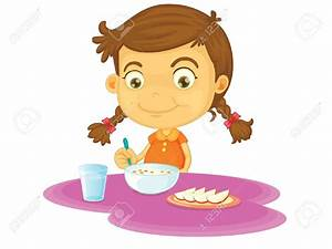 Kids eating dinner clipart