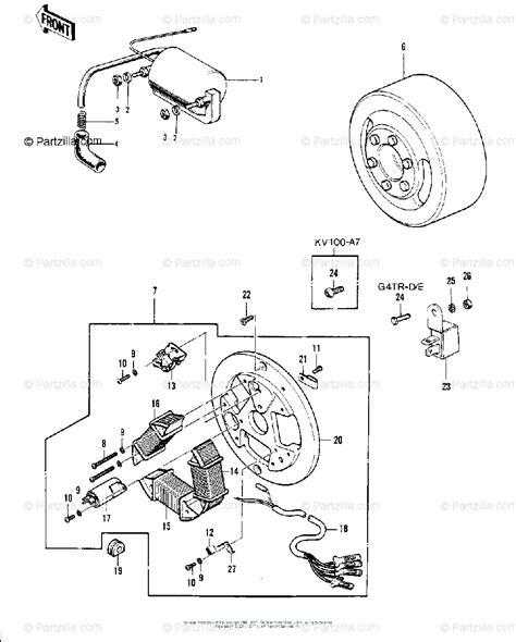 Kawasaki Ke100 Coil Wiring Diagram by Kawasaki Motorcycle 1975 Oem Parts Diagram For Ignition