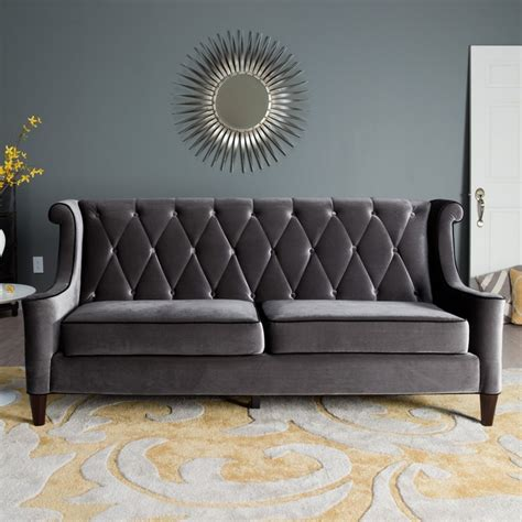 grey velvet settee armen living barrister gray velvet sofa walmart gray