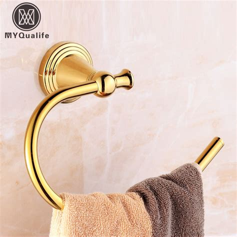shipping godlen brass towel ring wall mounted