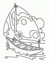 Coloring Boat Sailing Pages Nice Printables Transportation Wuppsy Tags sketch template