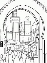 Coloring Morocco Pages Medina Bali Houses Buildings Fes Colouring Printable Adult Bustle Cityscapes Landscapes Sheets El Colour Walled Oldest Building sketch template