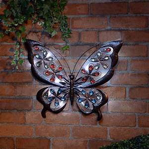 Large solar metal wall art butterfly for garden or home