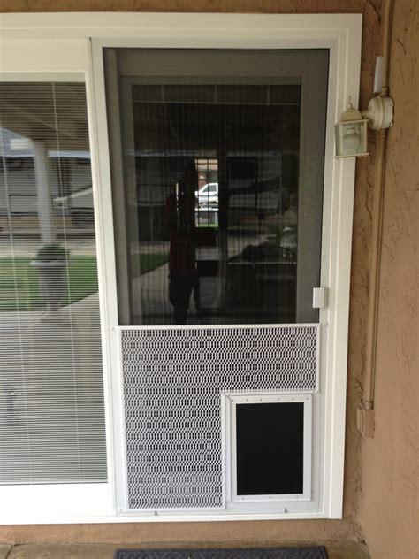 New Sliding Screen Door With Pet Grill And Pet Door Yelp