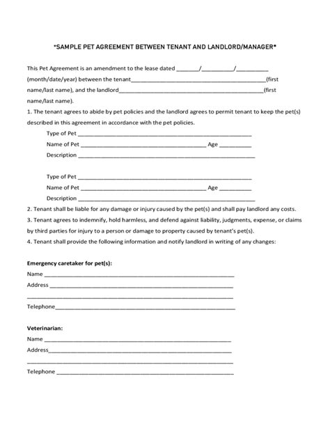 sle pet agreement between tenant and landlord manager