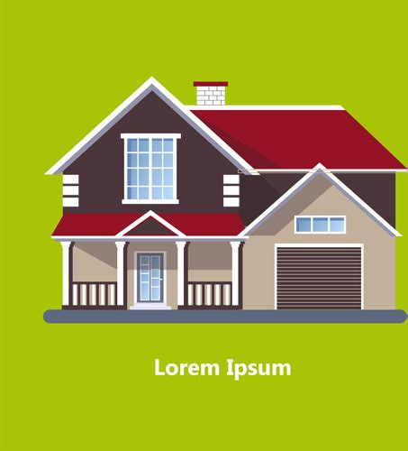 flat roof house  vector    vector