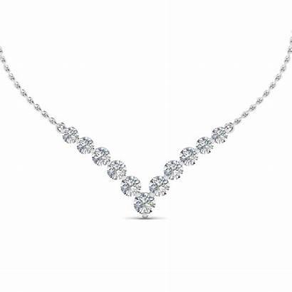 Diamond Necklace Gold Graduated Round Shaped Ct