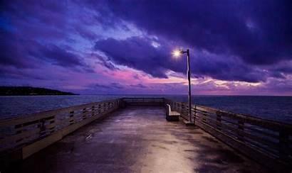 4k Dock Sky Evening Ocean Wallpapers Nature