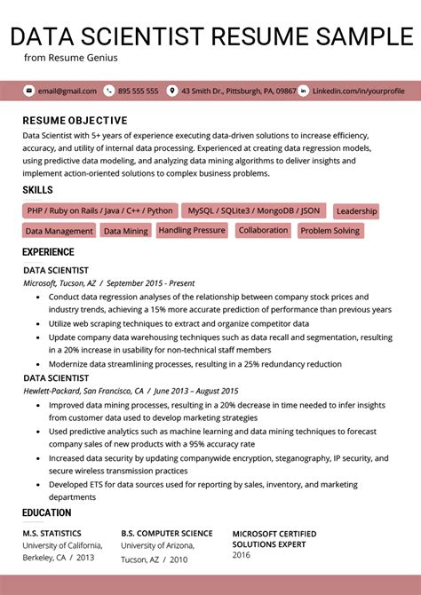 Scientist Resume by Data Scientist Resume Exle Writing Tips Resume Genius