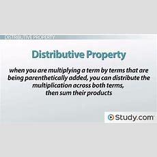 The Distributive Property And Algebraic Expressions  Video & Lesson Transcript Studycom