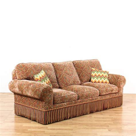 paisley fringe upholstered sleeper sofa loveseat