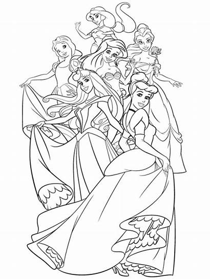 Coloring Disney Princesses Together Pages Adult Adults